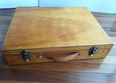 Large Artist Wood Painters Box Traveling Suitcase Dovetail Leather Handle