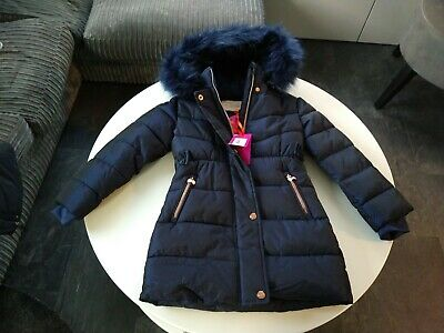 Girls Ted Baker Puffa Coat Navy Rose Gold Bows Zips Hood Cuff Sleeves age 7 £70