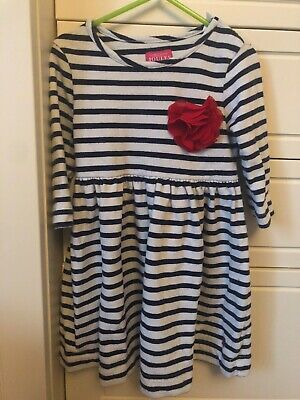 Joules White/Navy Striped Thick Dress w/ red flower corsage. Girls Age 5 years