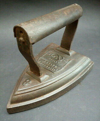 Antique Vintage Sad Iron Flat Iron Old Cast Iron by Silvesters Patent Salter 8