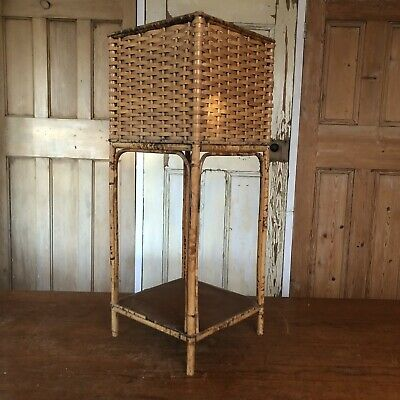 Vintage Bamboo Rattan Square Plant Stand Plant Pot Holder Houseplant Stand