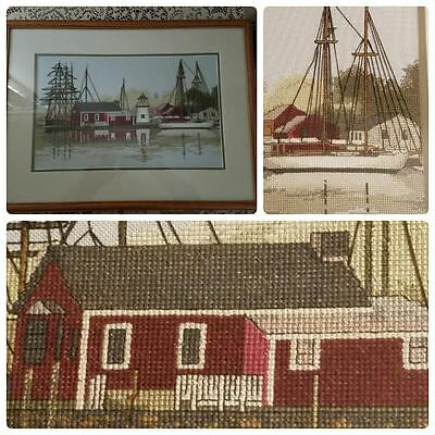 Needlepoint Cross Stitch Framed Sail Boat Ship Harbor Sea Water Scene Lighthouse