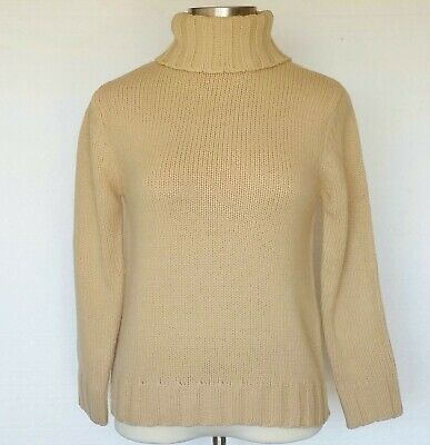 Terry Lewis Sweater NEW Camel Beige Chunky Cable Knit Womens Sz Small