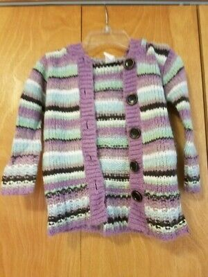 Old Navy Girls Button Front Hooded Cardigan Size 2T Purple Stripes