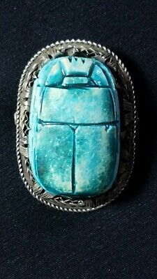 Art Deco Egyptian Large Antique Silver Scarab Beetle Designed Brooch Pin