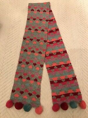 VGC MONSOON Girls - Grey/Pink knitted wool blend scarf with hearts & pom poms