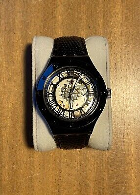 Swatch Automatic Watch Vintage Steel Case Black Leather Strap