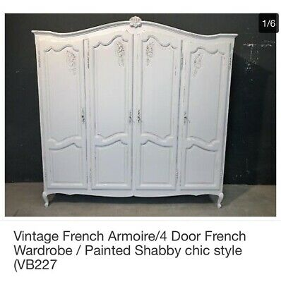 Vintage French Armoire, four door wardrobe
