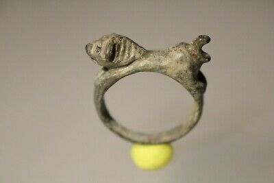 Ancient Fantastic Roman Bronze Ring * Lion 1st - 4th century AD