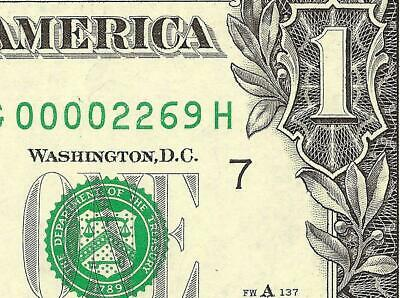 Unc 2003 A $1 Dollar Bill Low Serial Number 2269 Note Currency Paper Money
