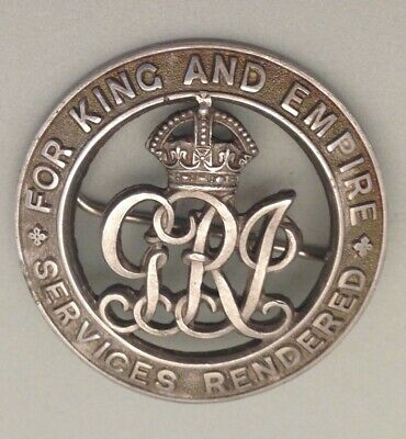 Antique Military For King And Empire Sevices Rendered Badge-WW1?-A12681