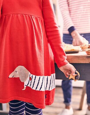 Joules Girls Millicent Knitted Dress  - RED STRIPE SAUSAGE DOG