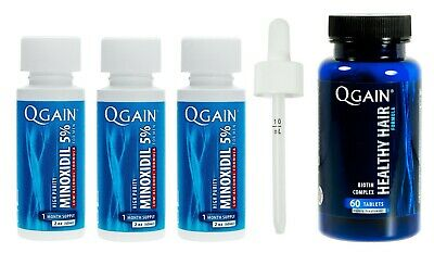 Qgain High Purity Minoxidil 5% LOW ALCOHOL for MEN 3 month supply 3 x 60mL
