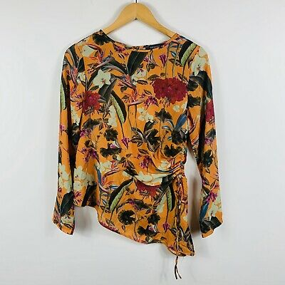 Primark Womens Top Size 10 Floral Long Sleeve Diamond Point Multicoloured