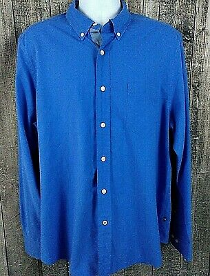 Nautica Button Down  Mens Shirt Size L Blue Solid Cotton Casual Long Sleeve