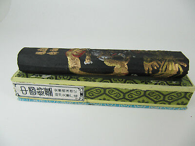 Vintage Japanese sumi-e Calligraphy Drawing Ink Stick Block, Black, Gold Dragon.
