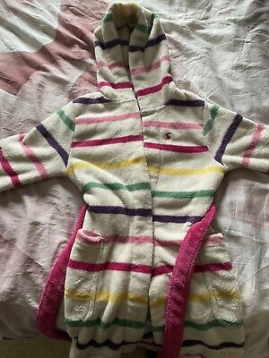Girls Joules Dressing Gown Joules Girls Stripy Age 3-4yrs, Very Good Condition