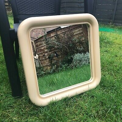 Vintage 70s Mid Century Space Age Large Square Wall Mirror Rounded Corners Cream