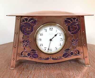 Fantastic Arts & Crafts Glasgow School Copper Clock George Walton Attributed