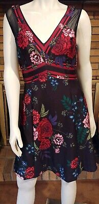 GUESS BLACK FLORAL Print Sleeveless Scuba Dress NWT $118