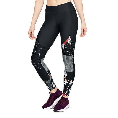 Under Armour Womens Vanish Printed Leggings Bottoms Pants Trousers Black Sports