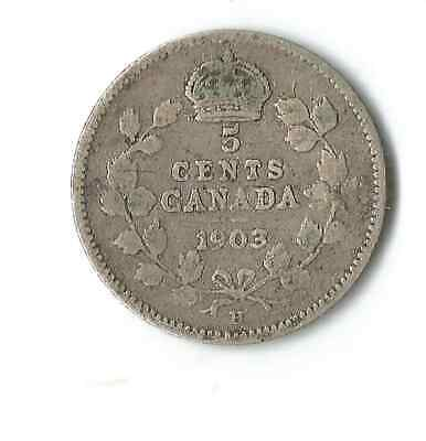 1903 Small Five Cent King Edward Vii Canada Nickel Coin