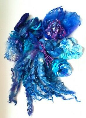 Blue Insprirational Project pack  A Wool Silk Locks ~Felting ~ Textiles ~ Sewing