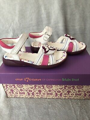 Clarks Girls White Leather Sandals Size UK 10 Kids