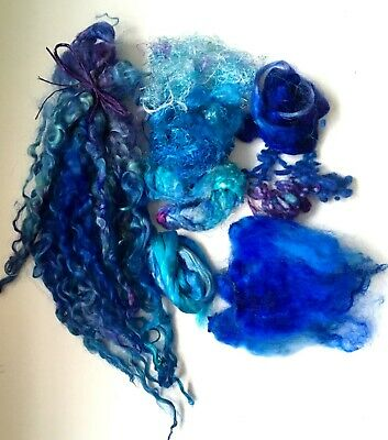 Blue Insprirational Project pack  D Wool Silk Locks ~Felting ~ Textiles ~ Sewing