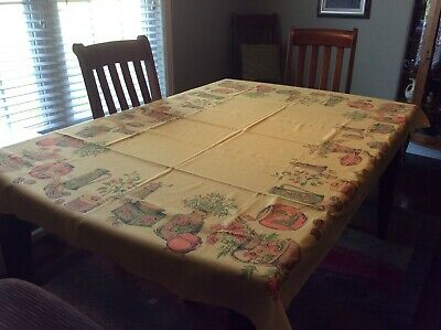 Vintage 1970's Gold Color Tablecloth with Jars and Fruit on It