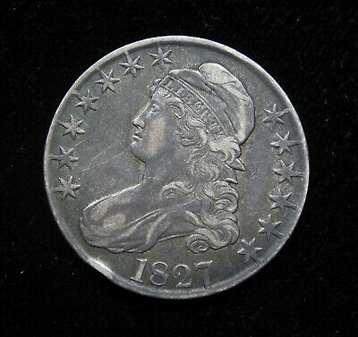 1827 Capped Bust Half Dollar Vf+ Detail O-123 R-5-