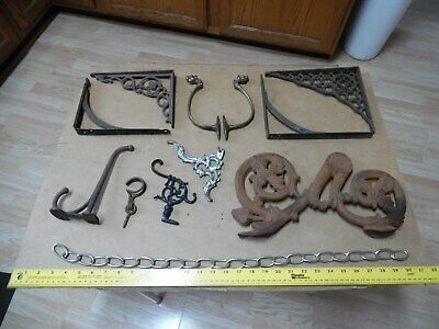 Vtg Antique Cast Iron Ornate Shelf Brackets Wall Art Metal Brass Legs Hook Hooks