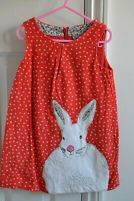 Lovely Mini Boden Girls Red Spotted Cord Pinafore Dress Rabbit Applique 3-4Y EUC