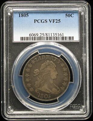 1805 Draped Bust Half Dollar Pcgs Vf25 O-112