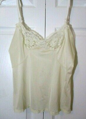 Vintage 80s Silky Nylon Lace Trimmed Camisole sz 36/14 Vanilla Ivory