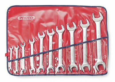 Proto Open End Wrench Set, Metric, Number of Pieces: 10, Satin Finish,