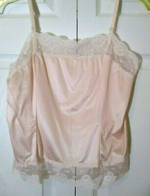 Vintage 80s Silky Nylon Lace Trimmed Camisole sz 36 Pale Pink Adjustable Straps