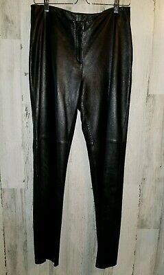 Bebe 100% Genuine Butter Soft Leather Black Straight Leg Pants Women's Size 10