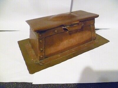 Antique Arts & Crafts Copper & Brass Ink Stand With 2 Glass Inkwells Superb