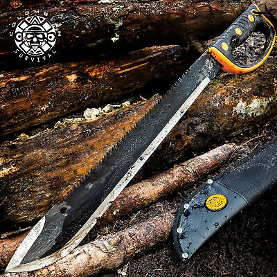 "24 "" HUNTING SURVIVAL Sawback Military CAMPING MACHETE Fixed Blade Knife SWORD"