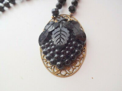 Vtg Antique 19th Century Victorian Black Onyx Mourning Cameo Necklace Exelent