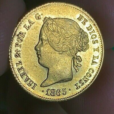 Spain Philippines Four Pesos 1865 Isabel Ii Gold Au Condition Scarce Date #502