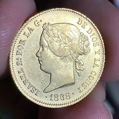 Spain Philippines Four Pesos 1868 Isabel Ii Gold Au Condition #503