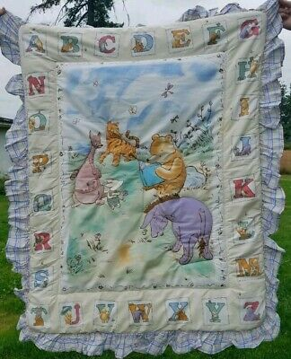 Disney Classic Pooh Caliope Crib Comforter Blanket Quilted 100% Cotton Baby