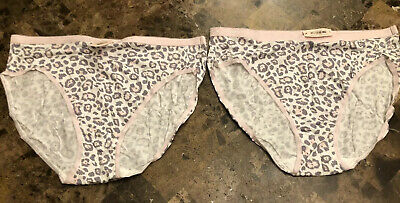 2-Victorias Secret Leopard Cheetah Hi Leg Brief Panties VTG Cotton High Sz L