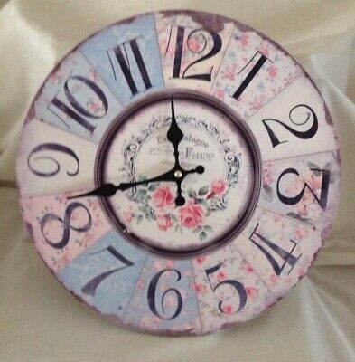 Vintage Wooden Wall Clock Shabby Chic Rustic Kitchen Home Antique Style Battery