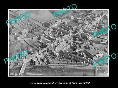 OLD LARGE HISTORIC PHOTO OF LANGHOLM SCOTLAND, AERIAL VIEW OF THE TOWN c1950 1