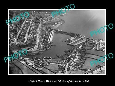 Old Large Historic Photo Of Milford Haven Wales, Aerial View Of The Docks 1930 2