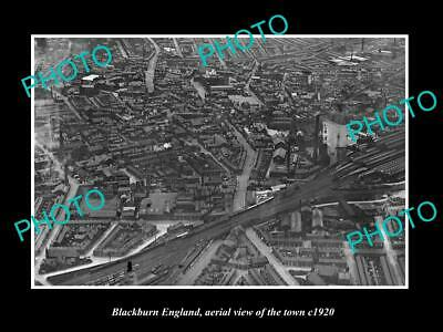 OLD LARGE HISTORIC PHOTO OF BLACKBURN ENGLAND, AERIAL VIEW OF THE TOWN c1920