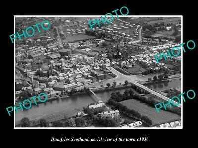 OLD LARGE HISTORIC PHOTO OF DUMFRIES SCOTLAND, AERIAL VIEW OF THE TOWN c1930 5